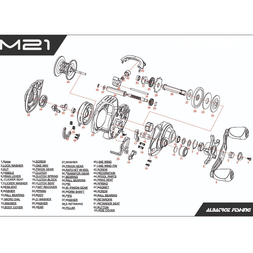 Carretilha Albatroz M21 Slim Preta Drag 5Kg Esquerda
