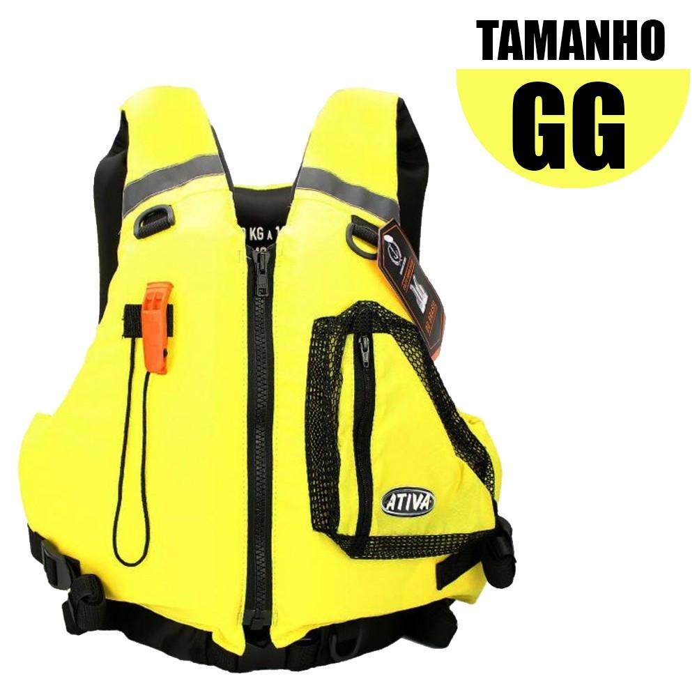Colete Salva Vidas Caiaque Homologado GG Amarelo - Ativa