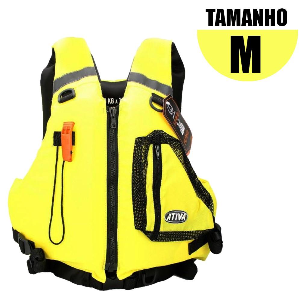 Colete Salva Vidas Caiaque Homologado M Amarelo - Ativa