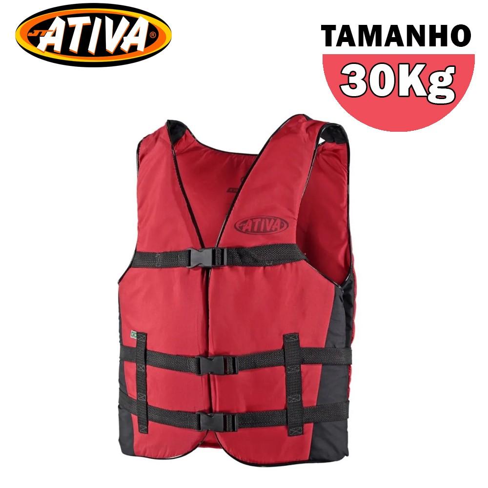 Colete Salva Vidas Canoa 30Kg Vermelho - Ativa