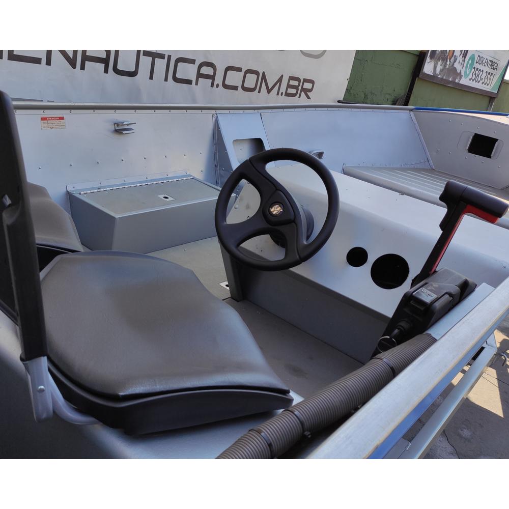Conjunto Lancha Marfim500 / Motor Johnson 35HP Partida Elétrica e Comando / Carreta Real 6 Metros