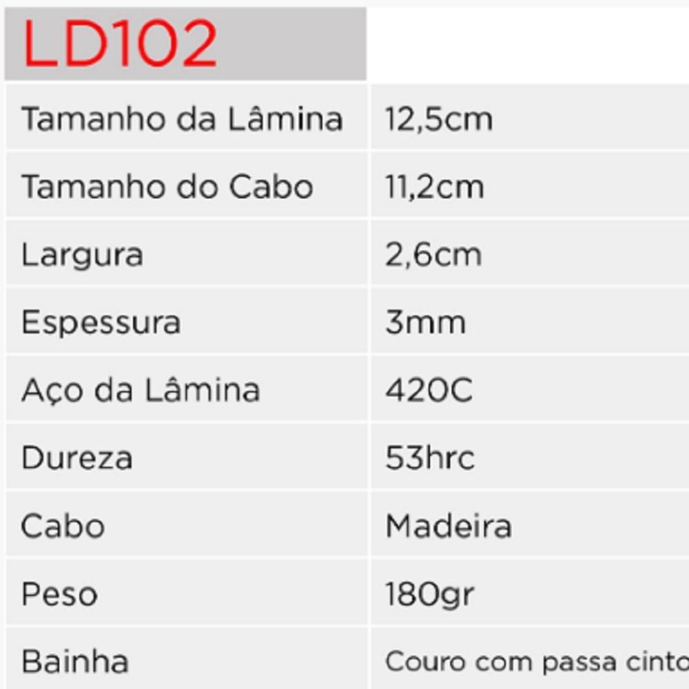 Faca Hunter LD102 Albatroz Bainha de Couro e Amolador