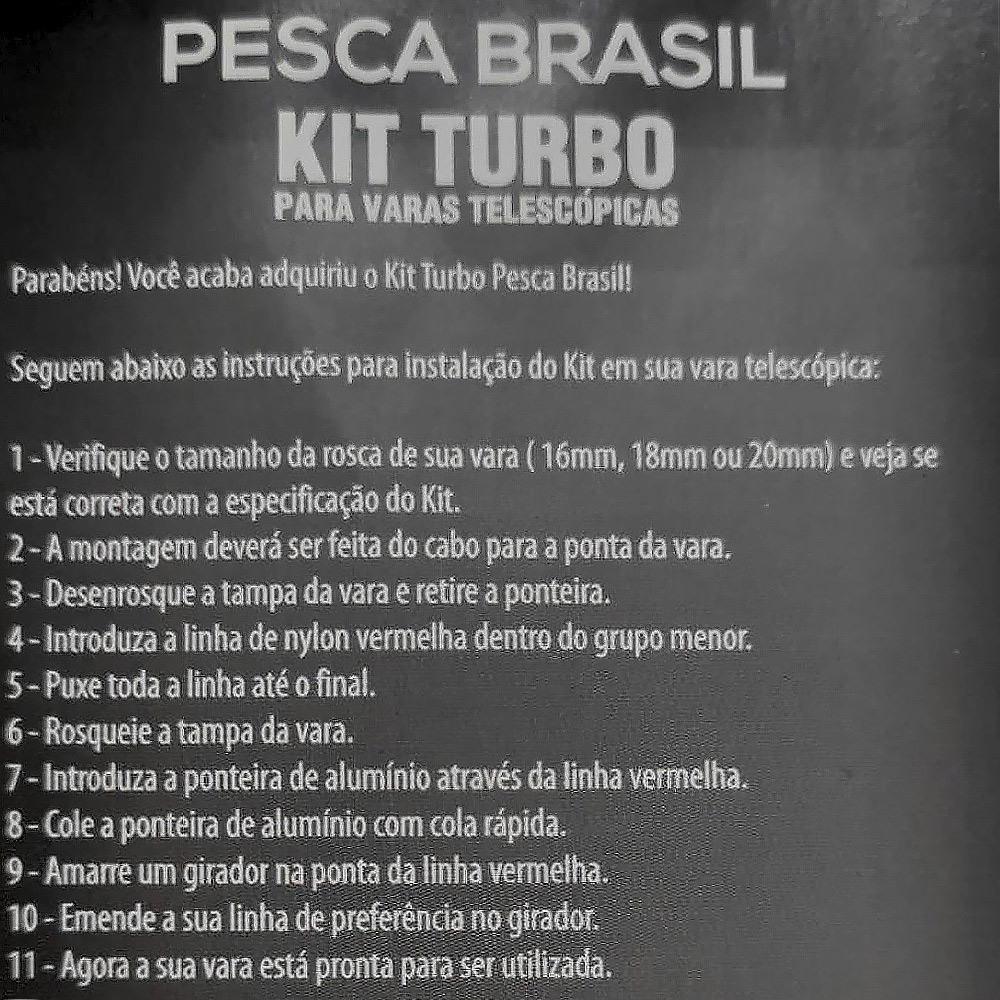 kit Turbo para Vara Telescópica 3,60 M - Pesca Brasil