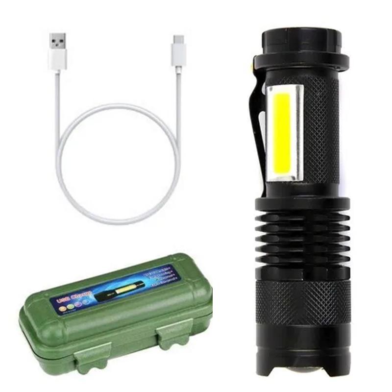 Lanterna Tática Led Recarregável USB com Estojo
