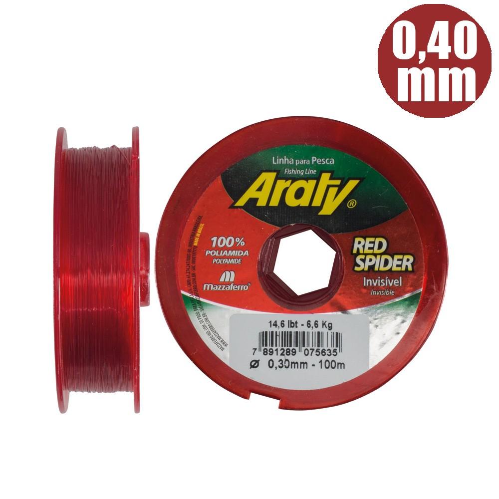 Linha red spider 300 mts 0,40mm invisÍvel - araty