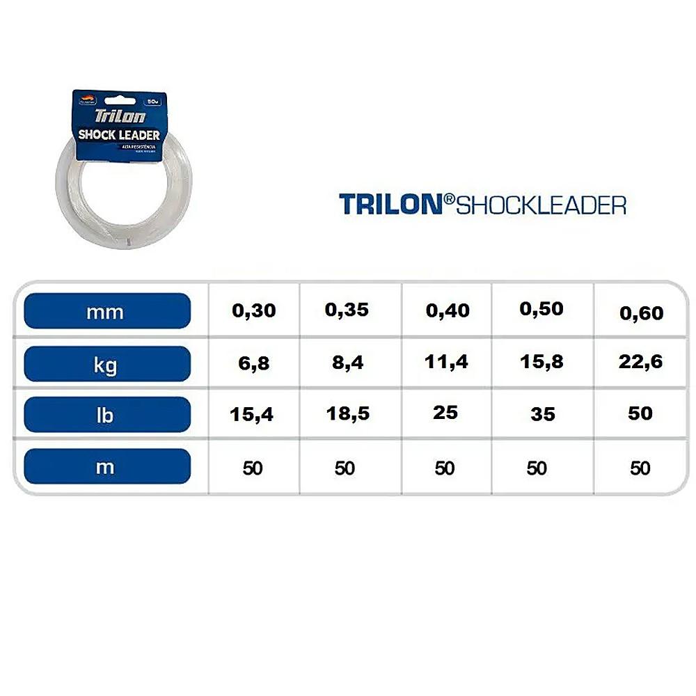 Linha trilon shock leader 50m 0,30mm