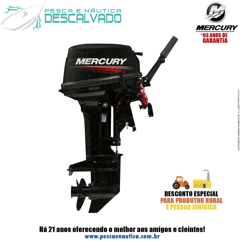 Motor De Popa Mercury 2 Tempos 15HP M Super Japão (Partida Manual)
