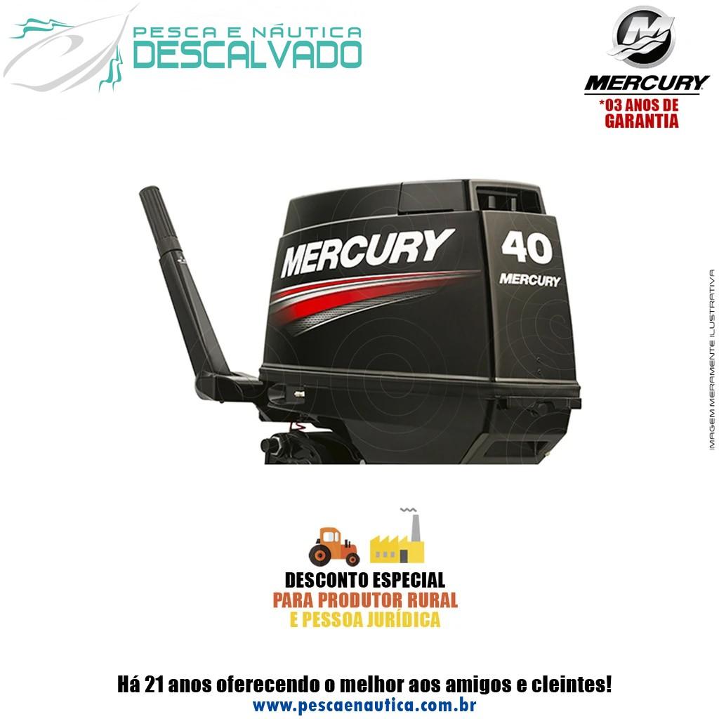 Motor De Popa Mercury 2 Tempos 40HP M Super 3 Cilindros Partida Manual