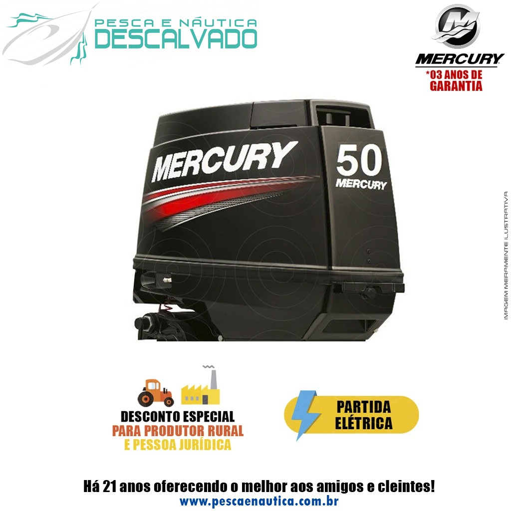 Motor De Popa Mercury 2 Tempos 50HP EHO 3 Cilindros