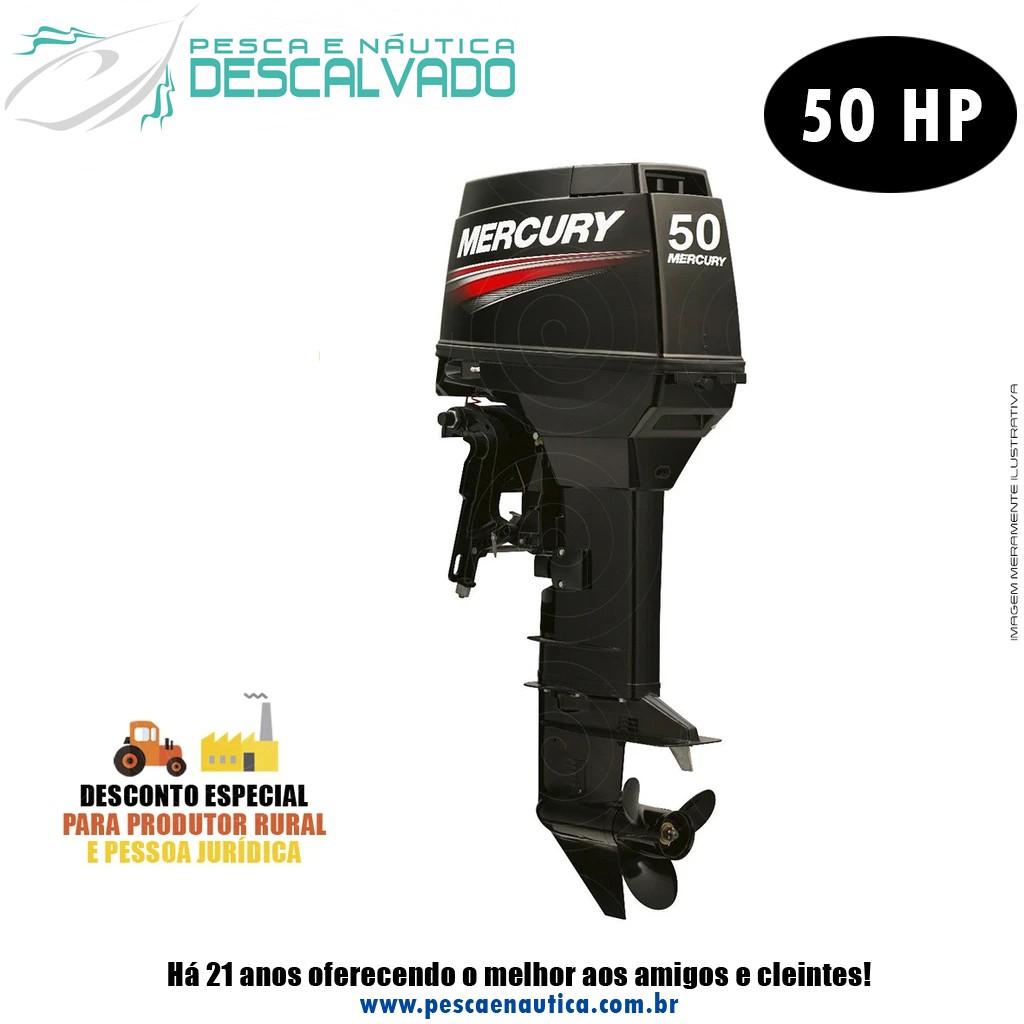 Motor De Popa Mercury 2 Tempos 50HP M 3 Cilindros Partida Manual