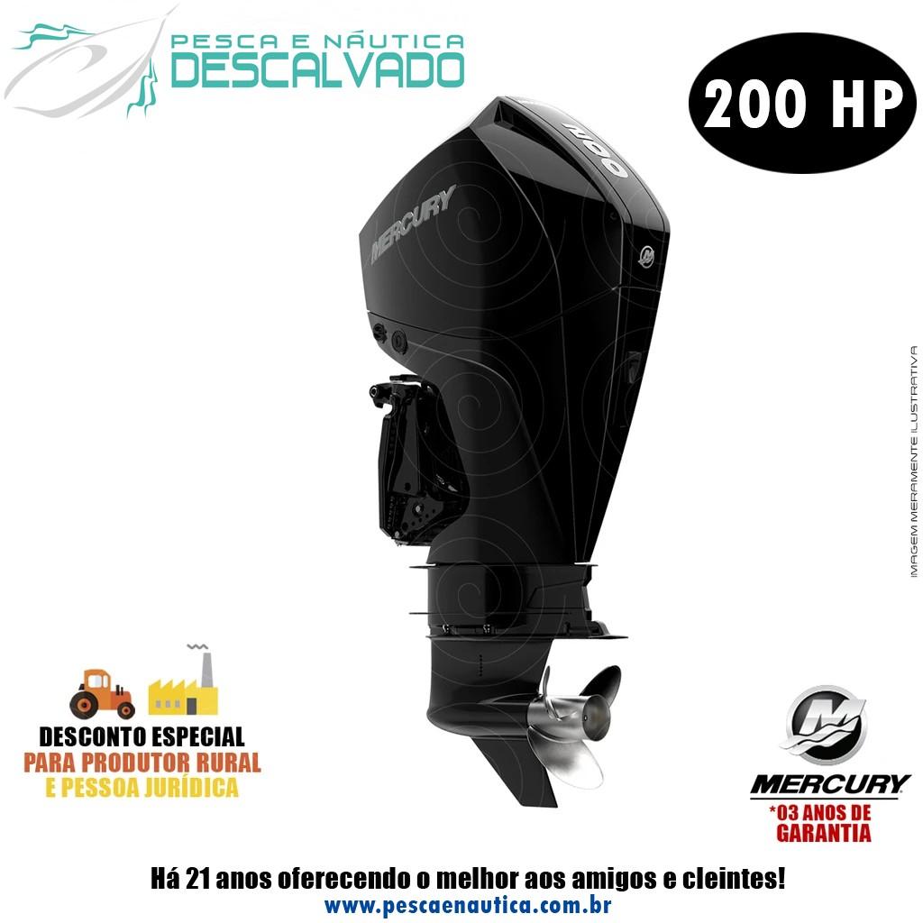 Motor De Popa Mercury 4 Tempos 200HP L 3.4L EFI V6 PRETO MECÂNICO