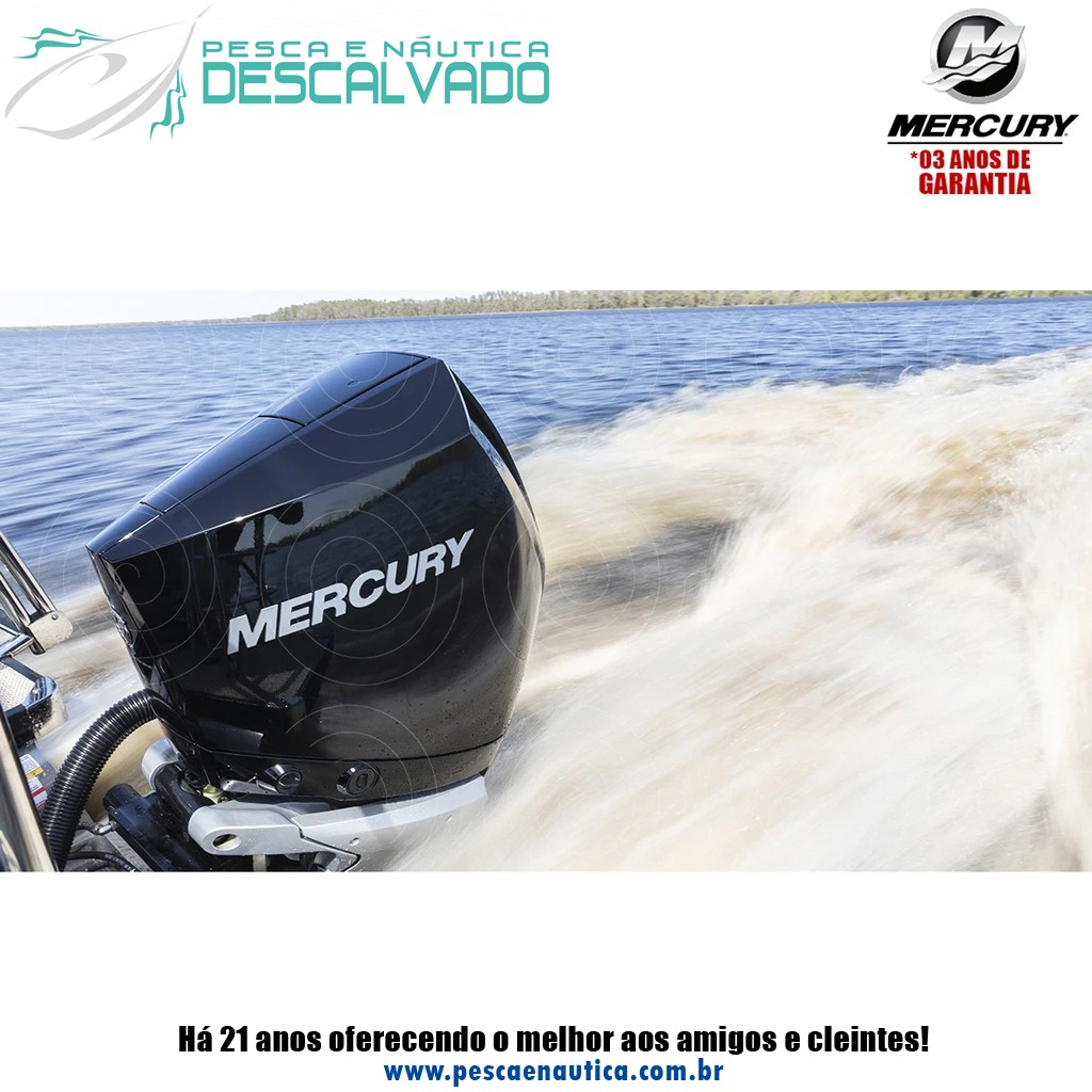 Motor De Popa Mercury 4 Tempos 250HP XL 4.6 EFI V8 DTS Branco