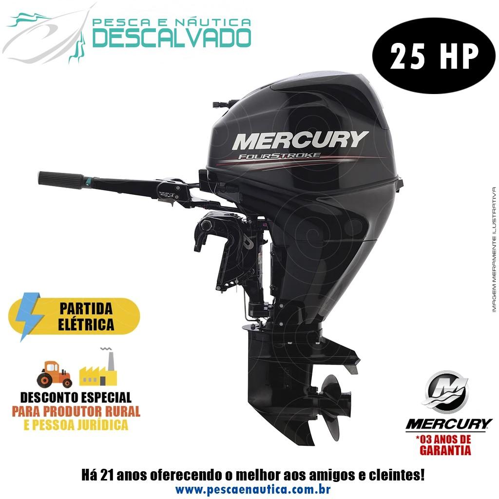 Motor De Popa Mercury 4 Tempos 25HP E EFI Partida Elétrica