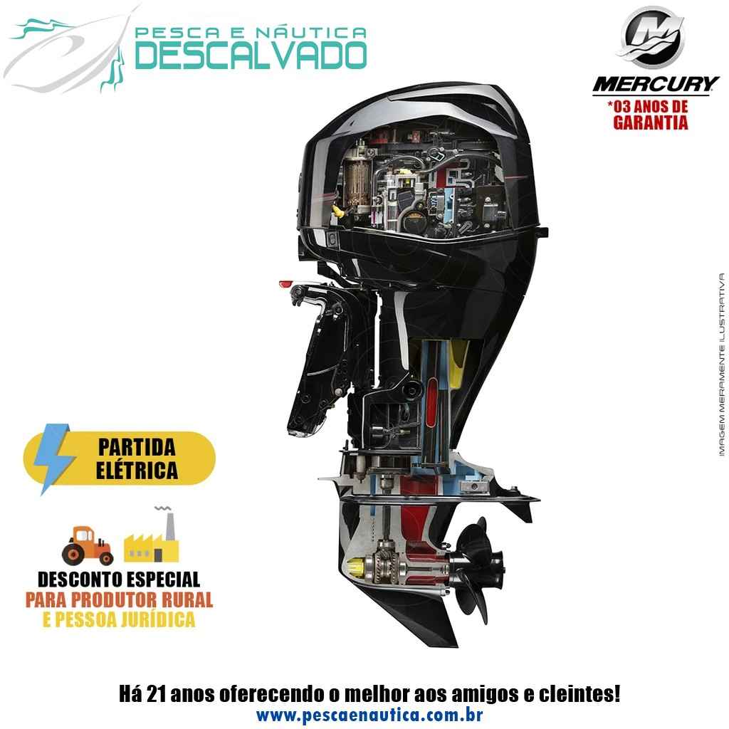 Motor De Popa Mercury 4 Tempos 60HP ELHPT EFI CT BIG TILLER