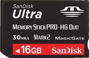 Cartão Memory Stick PRO-HG Duo 16GB Sandisk Ultra 30MB/s