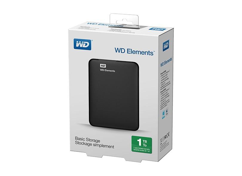 Hd Externo Portatil Wd Elements 1TB USB 2.0/ 3.0