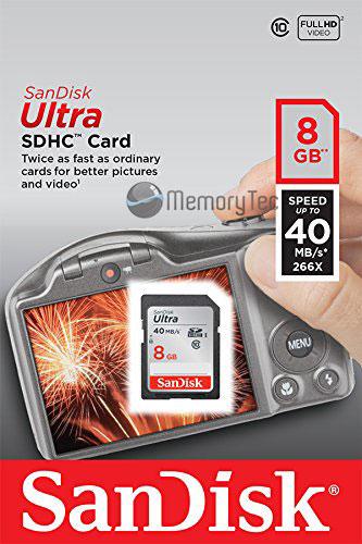 Cartão de Memória Sdhc 8GB Sandisk Ultra Classe 10 40MB/s
