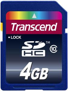 Cartão de Memória SDHC 4GB Transcend  Classe 10