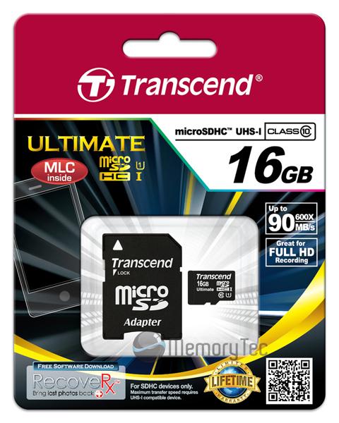 Cartão de Memória Transcend MicroSDHC 16GB Classe 10 Ultimate