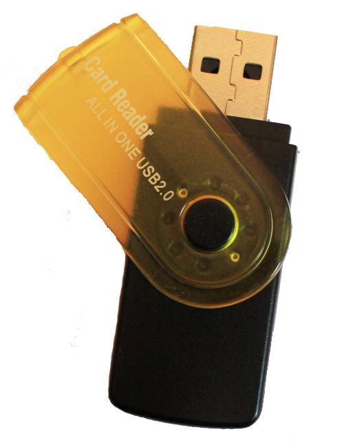 Leitor de Cartões de Memória Rotativo USB 2.0 Preto/Amarelo para SDHC, SDXC, SD, microSDHC, microSD, MemoryStick Pro duo, MMC