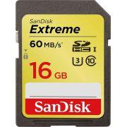 Cartão de Memória SDHC 16GB Sandisk Extreme Classe 10 60MB/s