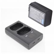 1 Bateria + Duplo Carregador FW50 Para Sony
