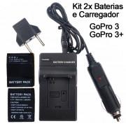 Kit 2x Baterias + carregador AHDBT-301 para c�mera e filmadora Go Pro 3 e 3+ Gopro HD Hero
