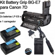 Kit BATTERY GRIP BG-E7 PARA CANON EOS 7D + 2 Baterias LP-E6 + 1 Carregador