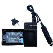 KIT Carregador + Bateria NP-FH100 3900mAh para câmera digital e filmadora Sony DCR-DVD106, DSC-HX100