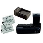 Kit Battery Grip BG-E5 para Canon EOS Rebel XS, XSi, T1i + 2 Baterias LP-E5 + 1 Carregador