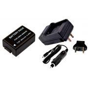 Kit Bateria DMW-BMB9 + carregador para câmera digital e filmadora Panasonic DMC-FZ40, DMC-FZ45, DMC-FZ47, DMC-FZ48, DMC-FZ100, DMC-FZ150