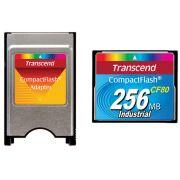 Kit Cartão de memória CompactFlash Transcend 256MB 80x Industrial TS256MCF80 + Adaptador para PCMCIA