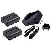 Kit 2 Baterias NP-FM500H + carregador para Sony Alpha SLT-A65, SLT-A57, SLT-A77, DSLR-A580, DSLR-A900
