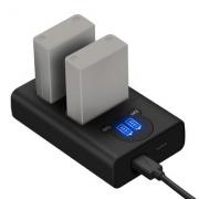 2 Baterias + Duplo Carregador DL-BLN1 PARA OLYMPUS