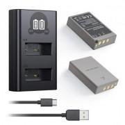 2 Baterias + Duplo Carregador PS-BLS5 Olympus Pen E-P3, Pen E-PL5, Pen E-PM1, Stylus 1