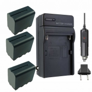 3 baterias + carregador NP-F950/960/970 para camera digital e filmadora Sony