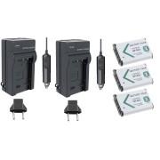 3 Baterias NP-BX1 + 2 carregadores para Sony DSC-RX1, DSC-RX100M2, DSC-HX300, HDR-MV1, HDR-AS15