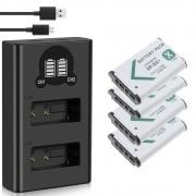 4 baterias BX1 + Carregador Duplo BX1