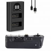 Kit Battery Grip Dmw-bggh3 + Duplo Carregador Para Panasonic Dmc-gh3 Gh4