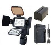 Iluminador de LED Profissional LED-VL002B + bateria NP-750 + carregador