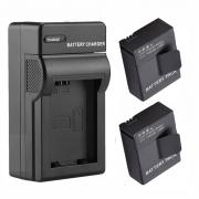 Kit 2 Baterias + Carregador para Gopro Hero 3 E 3+ Go Pro