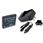 Kit Bateria DMW-BCF10E + carregador para Panasonic DMC-F3, DMC-FP8, DMC-FS4, DMC-FX40, DMC-TS2