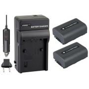 KIT Carregador + 2 Baterias NP-FH50 para Sony DCR-DVD106, DCR-DVD208, DCR-DVD306, DCR-HC37, DCR-HC38