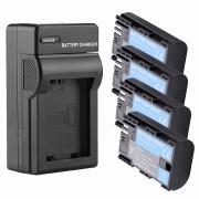 Kit Carregador   + 4 Baterias LP-E6 LP-E6N para Canon