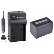 KIT Carregador + Bateria NP-FH70 para Sony DCR-DVD106, DCR-DVD208, DCR-DVD306, DCR-HC37, DCR-HC38