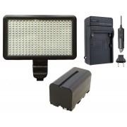 Kit Iluminador de LED Profissional LED-300 + Bateria NP-F550 + Carregador