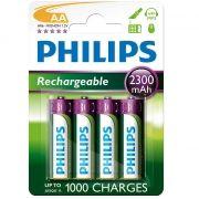 Pilha recarregável Philips AA 2300 mAh 4 unidades