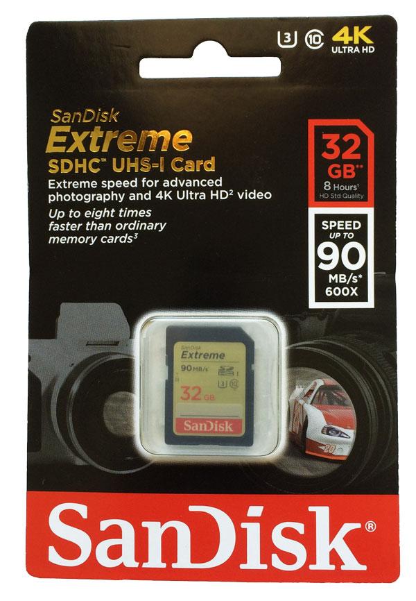Cartão de Memória SDHC 32GB Sandisk Extreme Classe 10 90MB/s