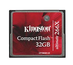 Cartão de memória CompactFlash Kingston 32GB 266x