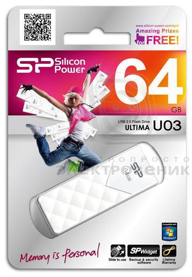 Pen drive Silicon Power Ultima U03 64GB Branco
